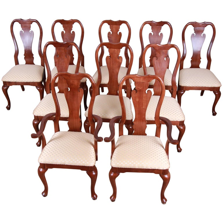 Mahogany Dining Room Furniture: Solid Mahogany Queen Anne Style Dining Chairs, Set Of 10