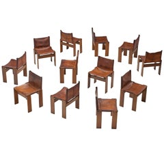 Scarpa Set of Twelve 'Monk' Chairs in Patinated Cognac Leather