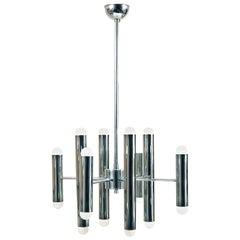 Mid-Century Modern 1970s Italian Sciolari Style Chrome Ceiling Lamp Chandelier