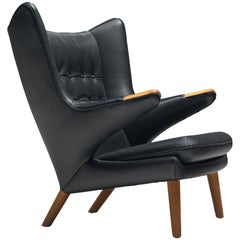 Hans Wegner Papa Bear Chair in Black Leather
