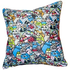 'Vintage Cushions' Bespoke Luxury Silk Pillow 'Blue China Cats', Made in London