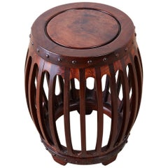Chinese Hardwood Carved Drum Stool or Drink Table