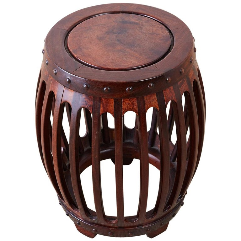 Chinese Hardwood Carved Drum Stool or Drink Table For Sale