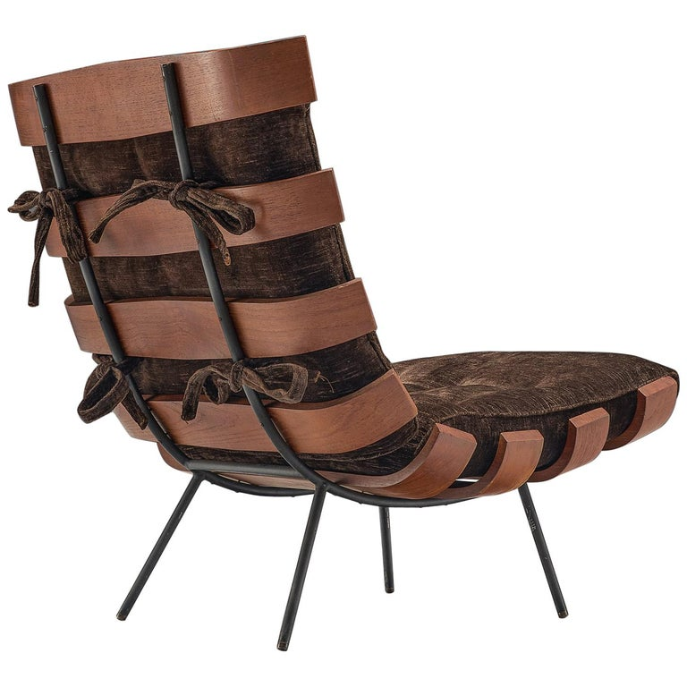 Eisler and Hauner 'Costela' Chair in Teak and Brown Upholstery