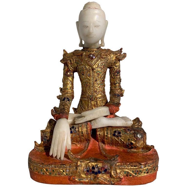 Burmese Mandalay Buddha in Royal Attire, Alabaster, Gilt Lacquer and Teak