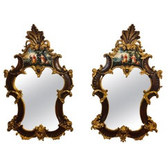 Pair of Rococo Mahogany Gilt Decorated Carved Wall / Pier or Console Mirrors