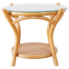 Round Bamboo and Rattan Two-Tier Drinks Table