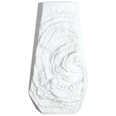 Original 1970s OP Art Biscuit Porcelain German Vase Made by AK Kaiser, Germany