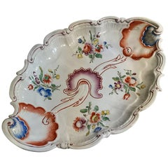 Richard Ginori 1750 Handmade Porcelain Bowl with Floral Orange and Blue Decor