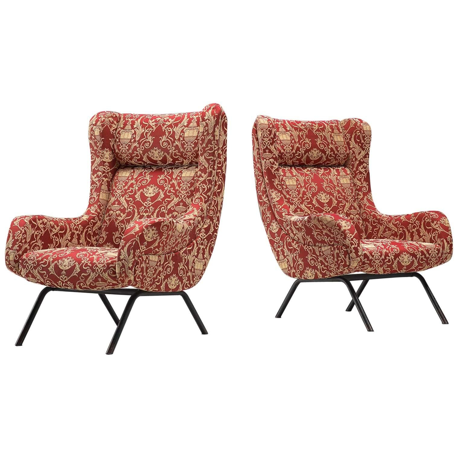 Two Italian Lounge Chairs In Baroque Patterned Fabric For Sale