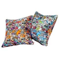'Vintage Cushions' Bespoke luxury silk pillow 'Red China Cats', Made in London