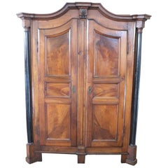 19th Century Italian Empire Walnut Wardrobe or Armoire