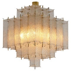 Layered Brass and Structured Glass Chandelier