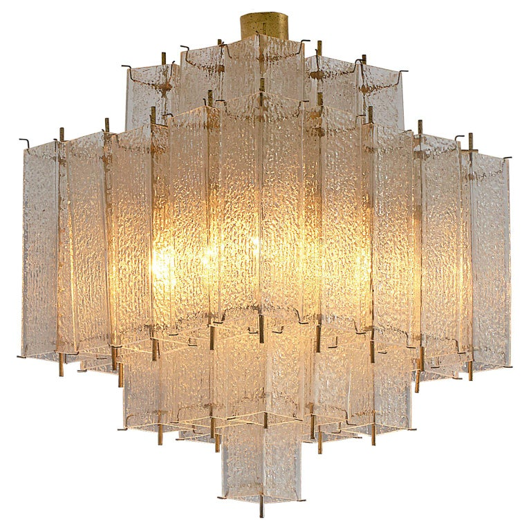Layered Brass and Structured Glass Chandelier For Sale