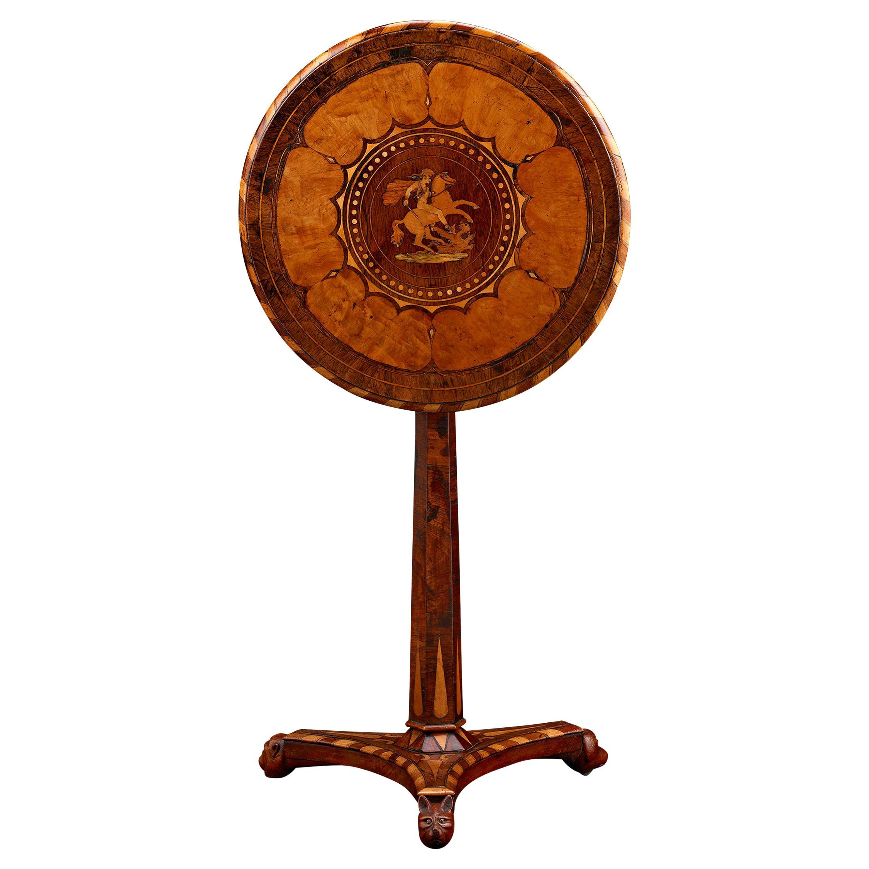 19th Century Caribbean Marquetry Tilt-Top Table