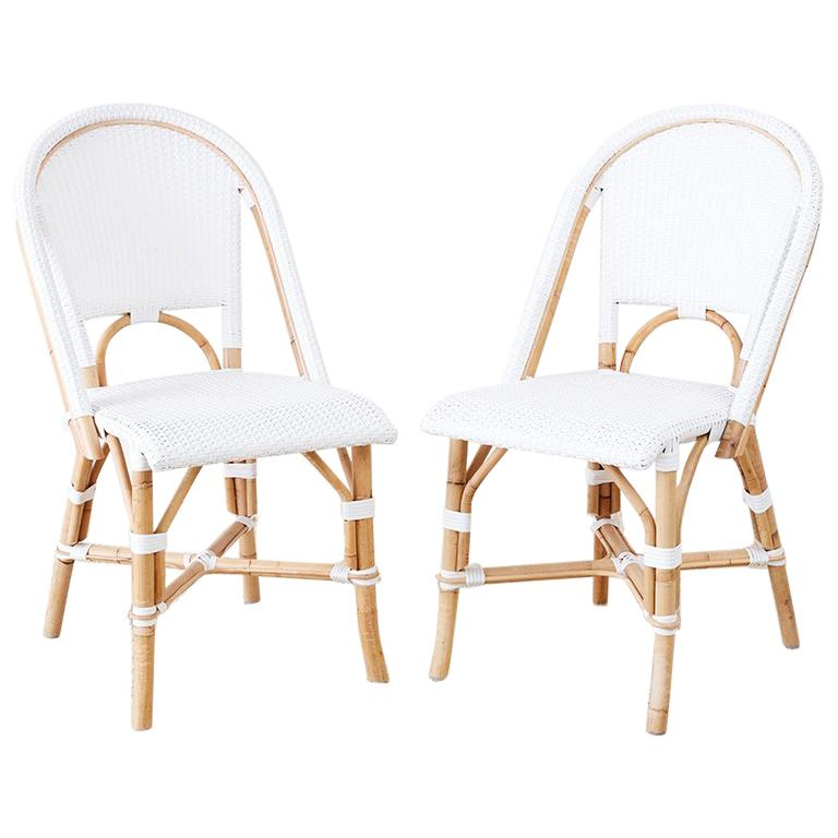 Serena and Lily Bamboo Riviera Rattan French Bistro Chairs For Sale