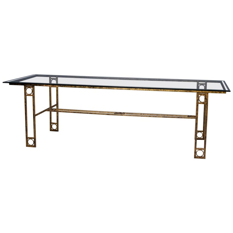 Midcentury Dining Table with Iron Base and Glass Top For Sale