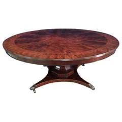Custom Round Mahogany Transitional Dining Table by Leighton Hall