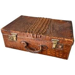 Vintage English Edwardian Crocodile Suitcase With Bevelled Vanity Mirror