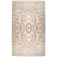 Contemporary Louis XV Style Aubusson in Ivory, Rose, Blue and Grey