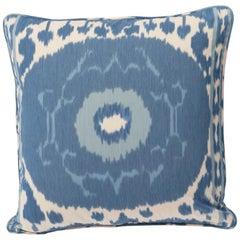 """Schumacher Samarkand Ikat II Porcelain Blue Two-Sided 20"""" Pillow"""