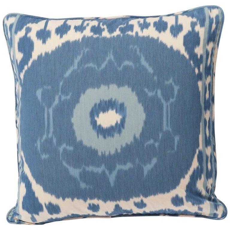 "Schumacher Samarkand Ikat II Porcelain Blue Two-Sided 20"" Pillow For Sale"