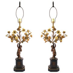 French Neoclassical Revival Bronze Table Lamps with Putti