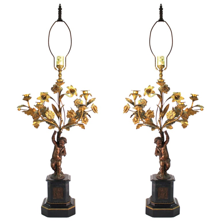 French Neoclassical Revival Bronze Table Lamps with Putti For Sale
