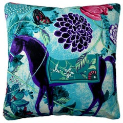 'Vintage Cushions' Luxury Bespoke-made silk pillow 'Equus Blue', Made in London