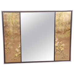 Labarge Églomisé Reverse Painted Hollywood Regency Chinoiserie Wall Mirror