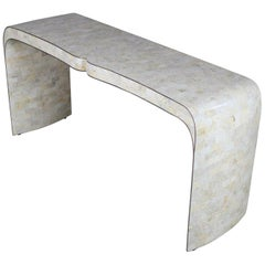Maitland Smith Hollywood Regency Tessellated Stone Veneer U-Shaped Console Sofa