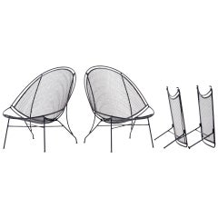 Pair John Salterini Patio Chaise Lounge Chairs with Removable Footrests