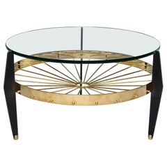 Italian Two-Tier Table with Brass Spokes Wood Legs and Glass Top
