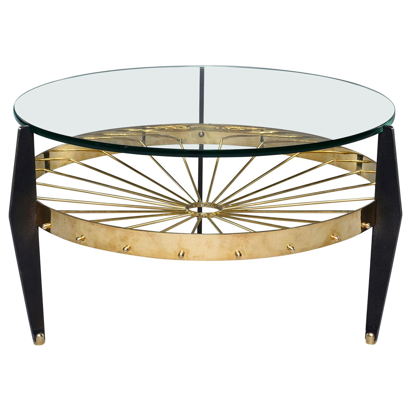 Italian Two Tier Table With Brass Spokes Wood Legs And Glass Top For Sale