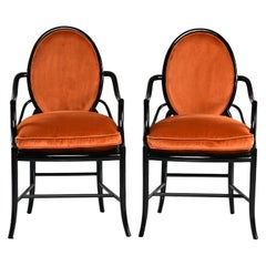 Pair of Midcentury Ebonised Bentwood Armchairs with New Orange Velvet Upholstery
