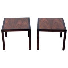 Rosewood and Mahogany End Tables Attributed to Dunbar