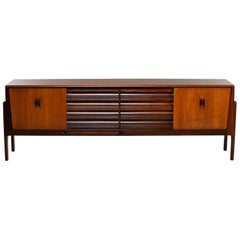 Italian Midcentury Sideboard With Multi Woods and Sliding Doors