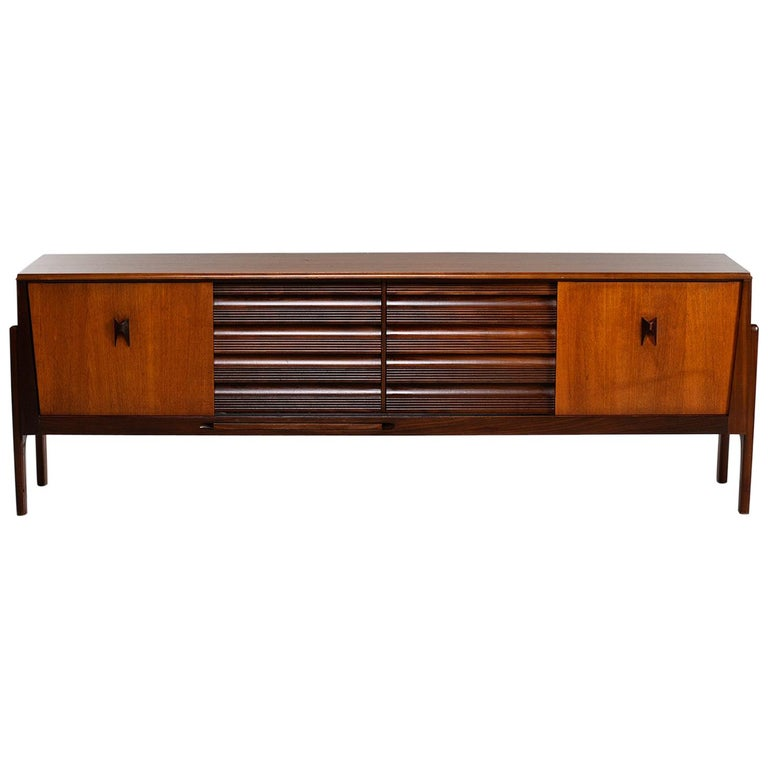Italian Midcentury Sideboard With Multi Woods and Sliding Doors For Sale