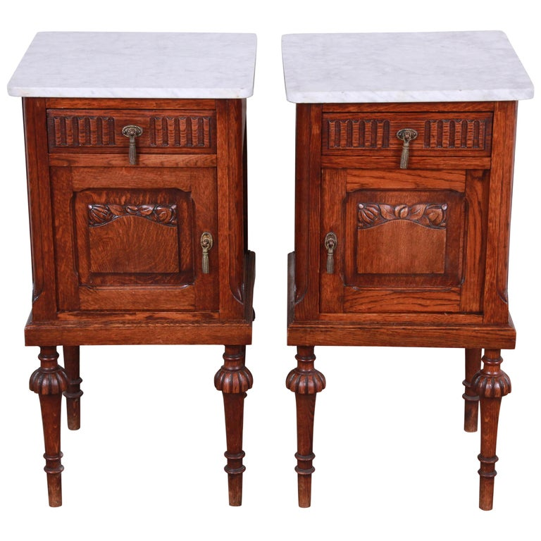 19th Century Victorian Carved Oak Marble Top Nightstands