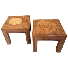 Vintage Pair of Pencil Reed Bamboo Rattan Benches Stools or Coffee Tables