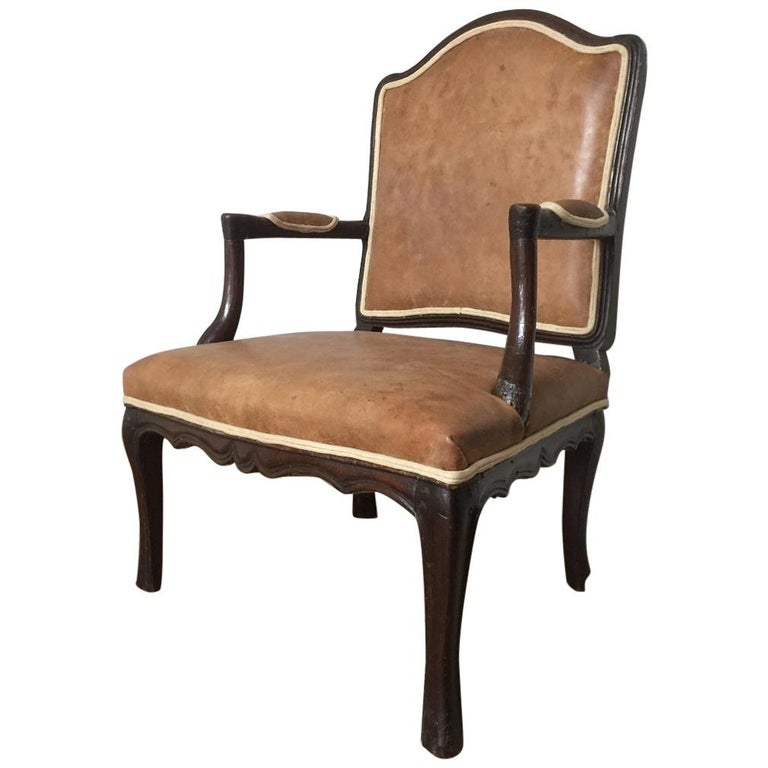 18th Century French Armchair Leather and Walnut For Sale