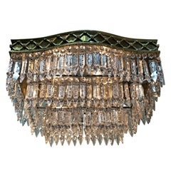 Elegant Pair of Flush Mount Crystal and Bronze Chandeliers