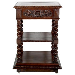French Carved Oak 'Barley Twist' 3-Tier Stand