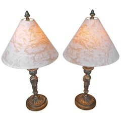 Pair of French 19th Century Bronze Candlesticks Converted into Table Lamps