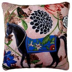 'Vintage Cushions' Luxury Bespoke-Made Silk Pillow 'Equus Rosado' Made in London