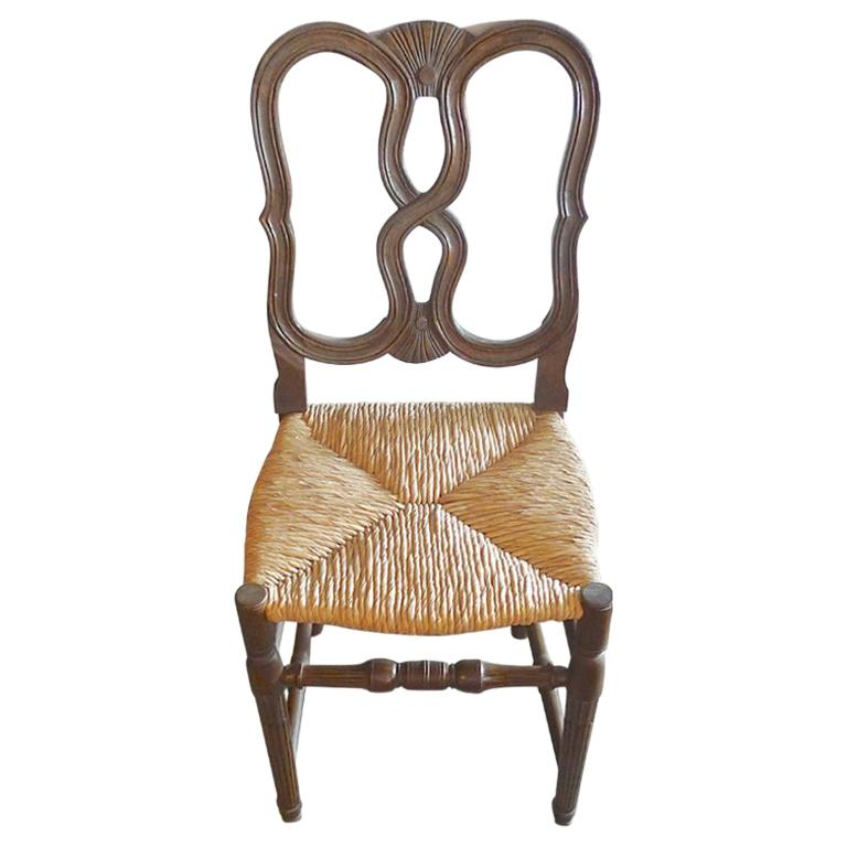 Reproduction French Louis Xvi Style Hand Carved Dining Chair With Rush Seat For