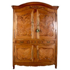 French Early 19th Century Cabinet 'Deux Corps' with Solid Burl Panels
