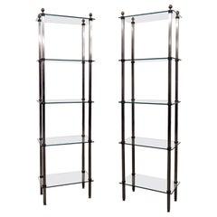 Pair of John Vesey Steel and Brass Hollywood Regency Etageres Shelves