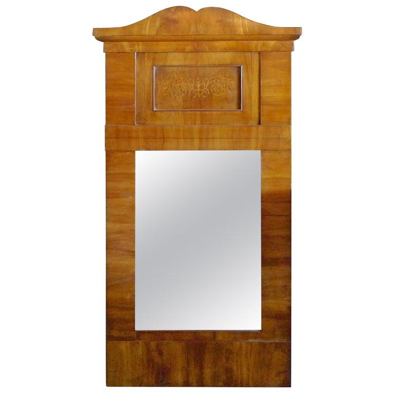 French 19th Century Biedermeier Walnut Trumeau Mirror with Original Mirror Glass For Sale