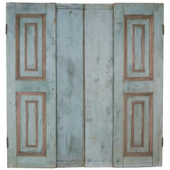 19th Century French Wood Painted Window Shutters, Pair